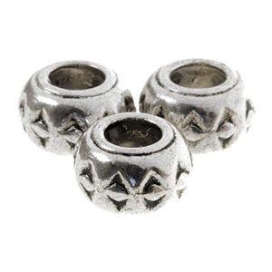 2 x Metalen Kraal Aztec Antiek Zilver 4-5mm