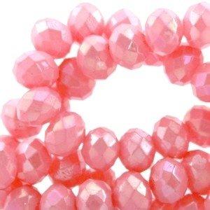 15 x Top Facet kralen 6x4 mm disc Soft rose pink opaque - Diamond coating