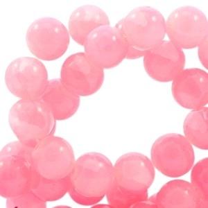 30 x Crackled opal glaskralen 6 mm Rose pink